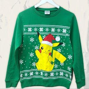 POKEMON boy's holiday sweater green large